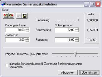 Screenshot Parameter Sanierungskalkulation